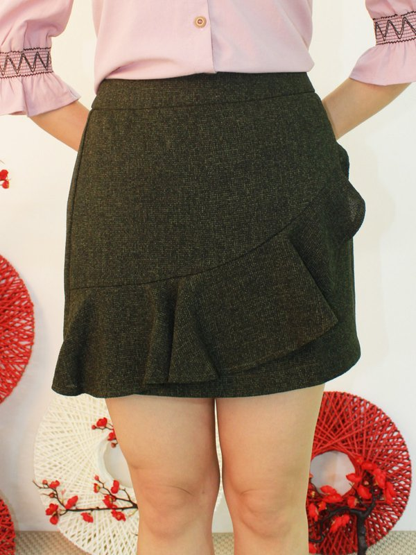 RUFFLE FRONT SKIRT (OLIVE)