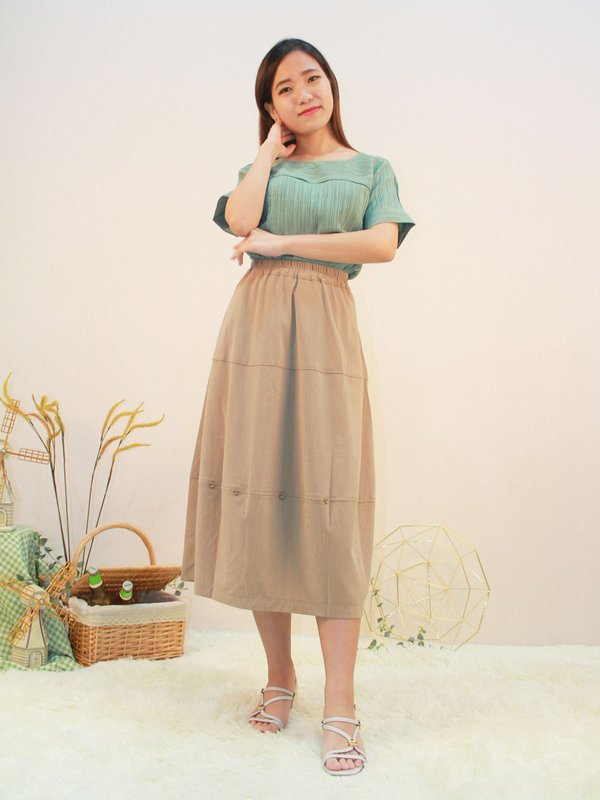 BUTTON MIDI SKIRT (COCO)