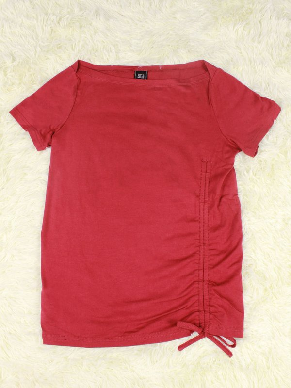 BASIC TIE UP SHIRT (DARK RED)