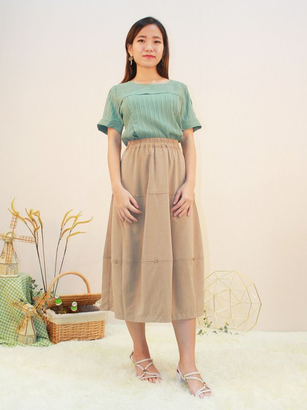TWO LAYER TEXTURE TOP (PALE GREEN)