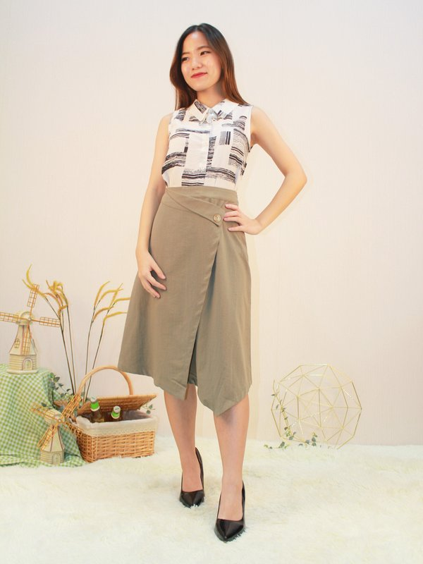 ALESSA MIDI SKIRT (ARMY GREEN)