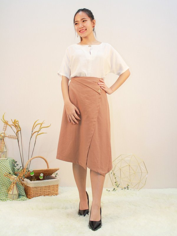 ALESSA MIDI SKIRT (LIGHT BROWN)
