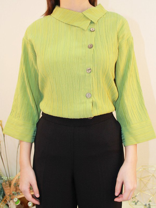 VERTICAL TEXTURE BUTTON DOWN BLOUSE (NEON GREEN)
